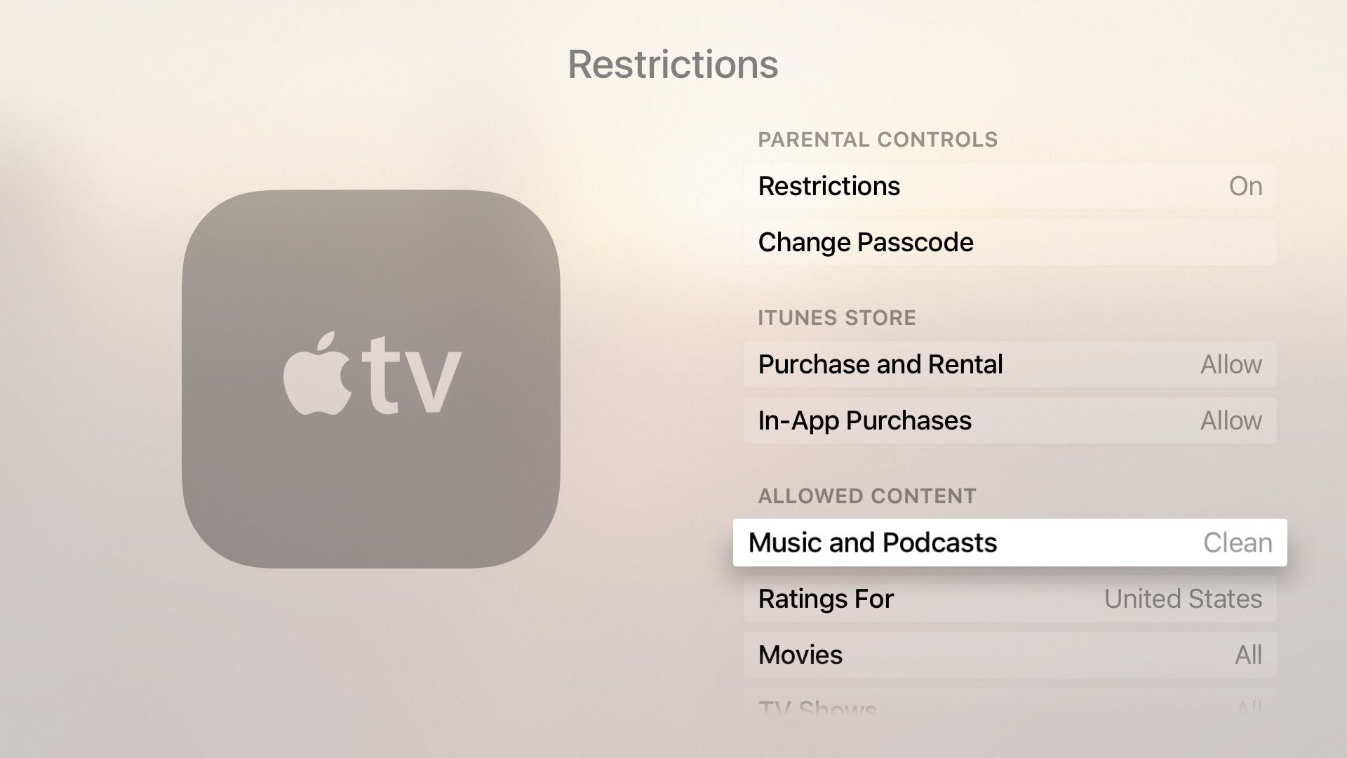 Configuración de música y podcasts en Apple TV