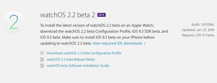watchOS 2.2 beta 2