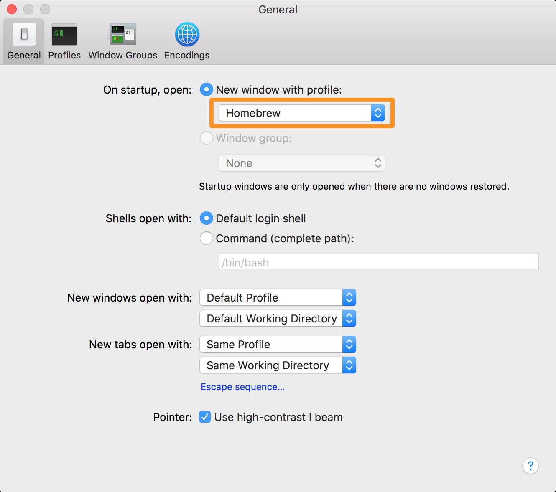 Terminal app preferences pane