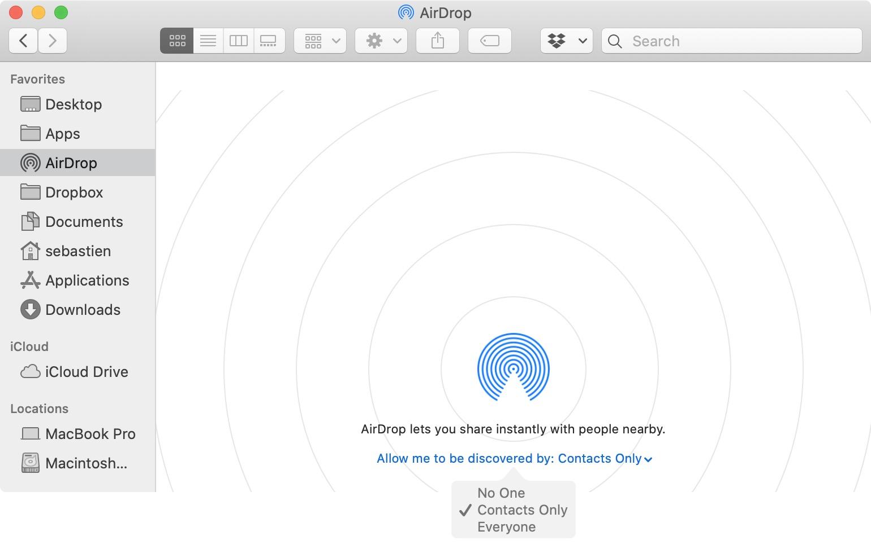 AirDrop settings on Mac