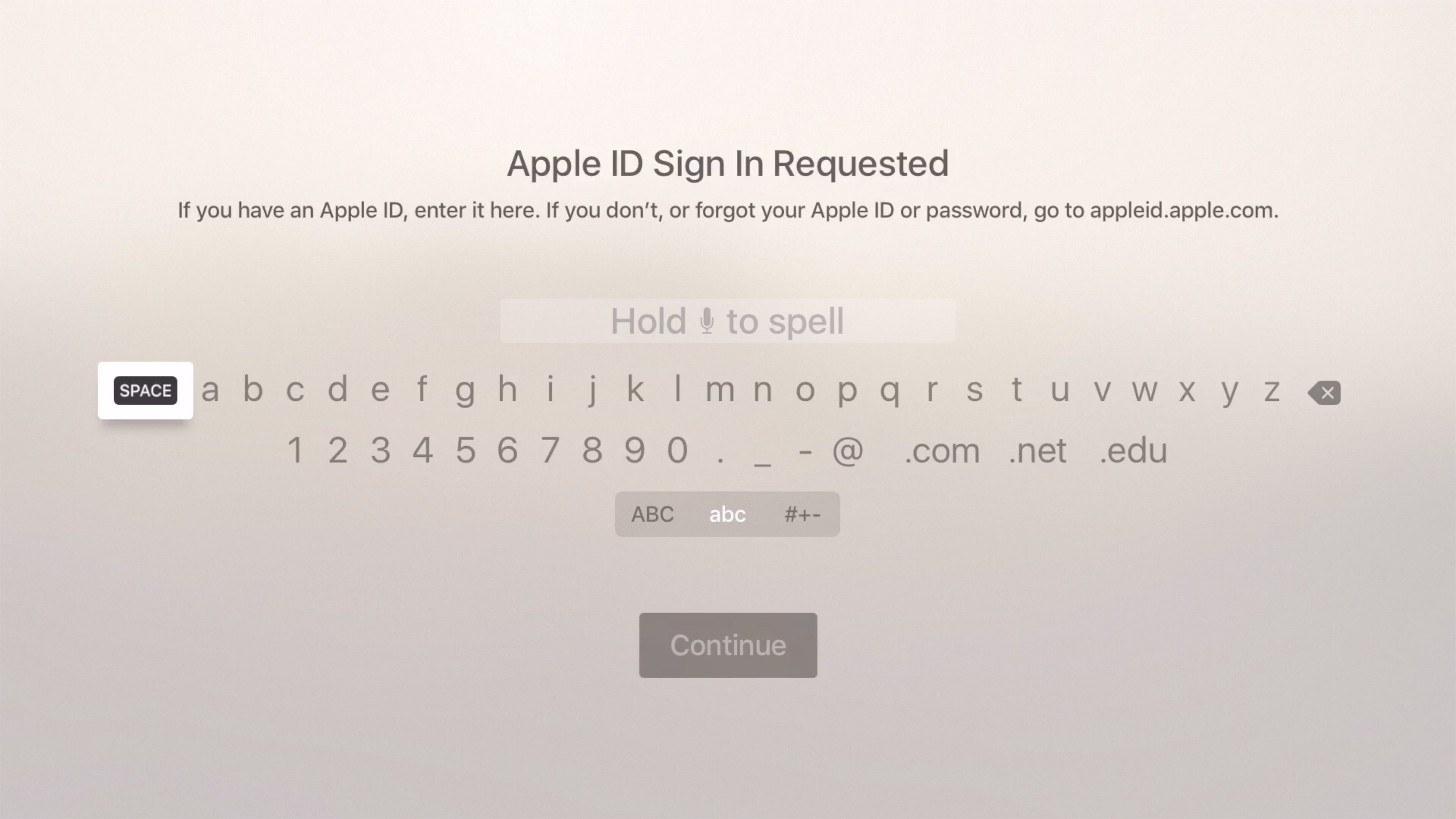 Apple ID Dictation Apple TV