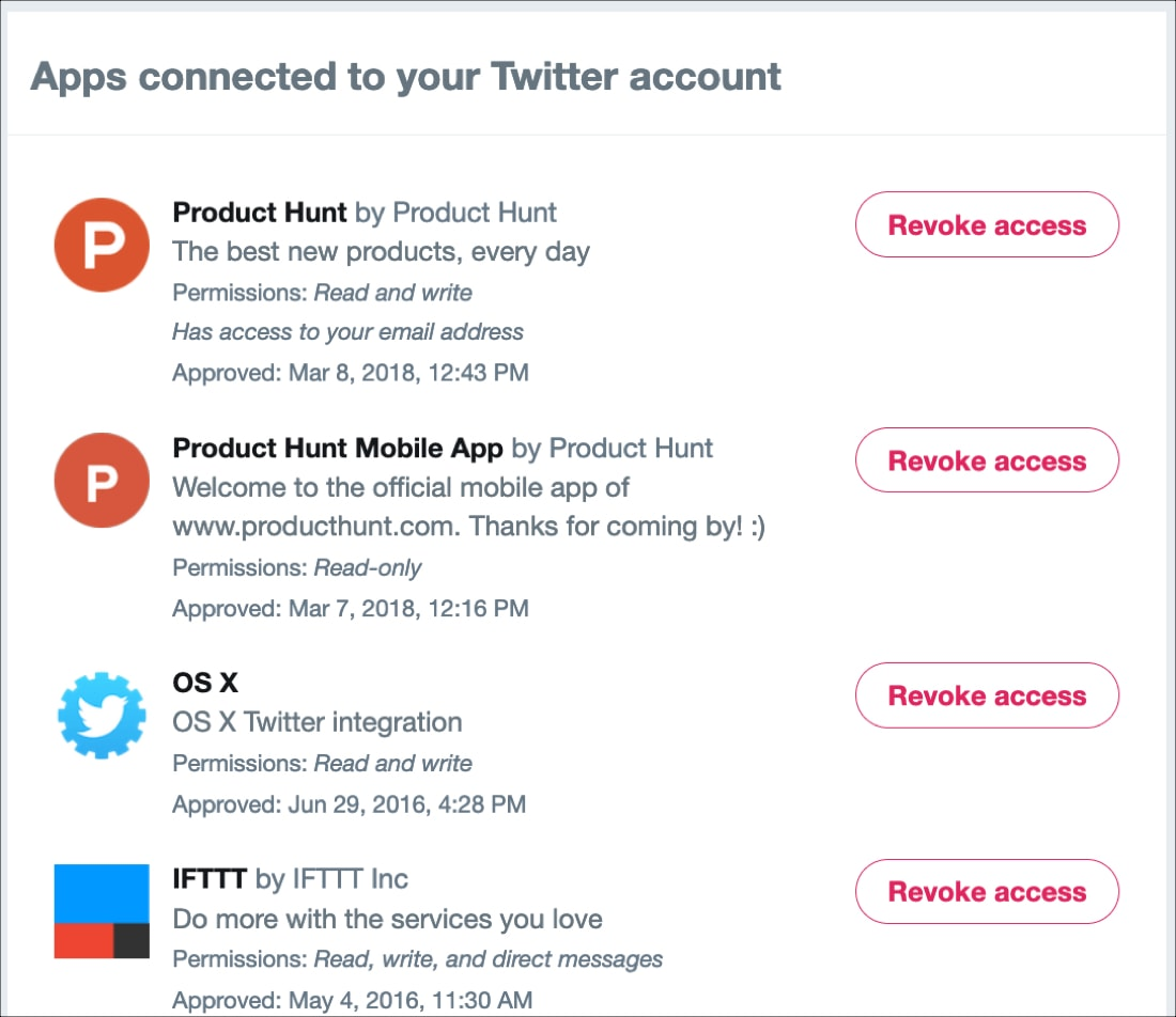 Apps Connected to Twitter Account Revoke