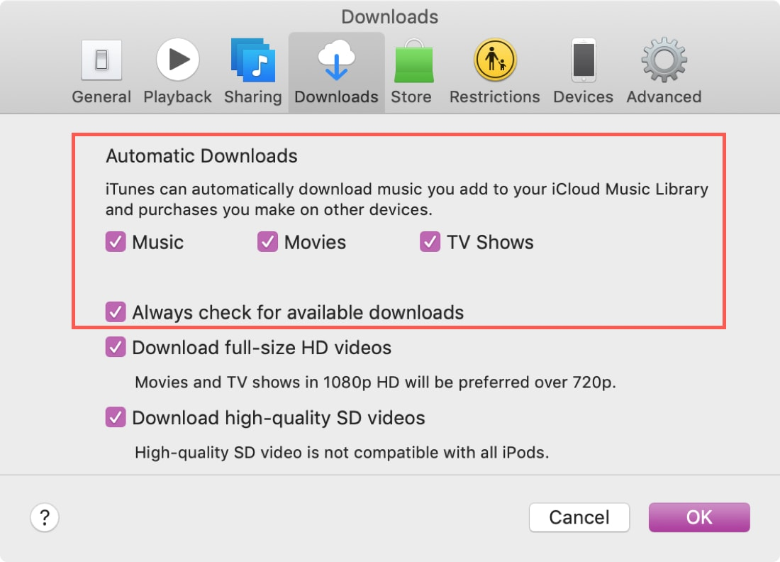 Automatic Downloads iTunes on Mac