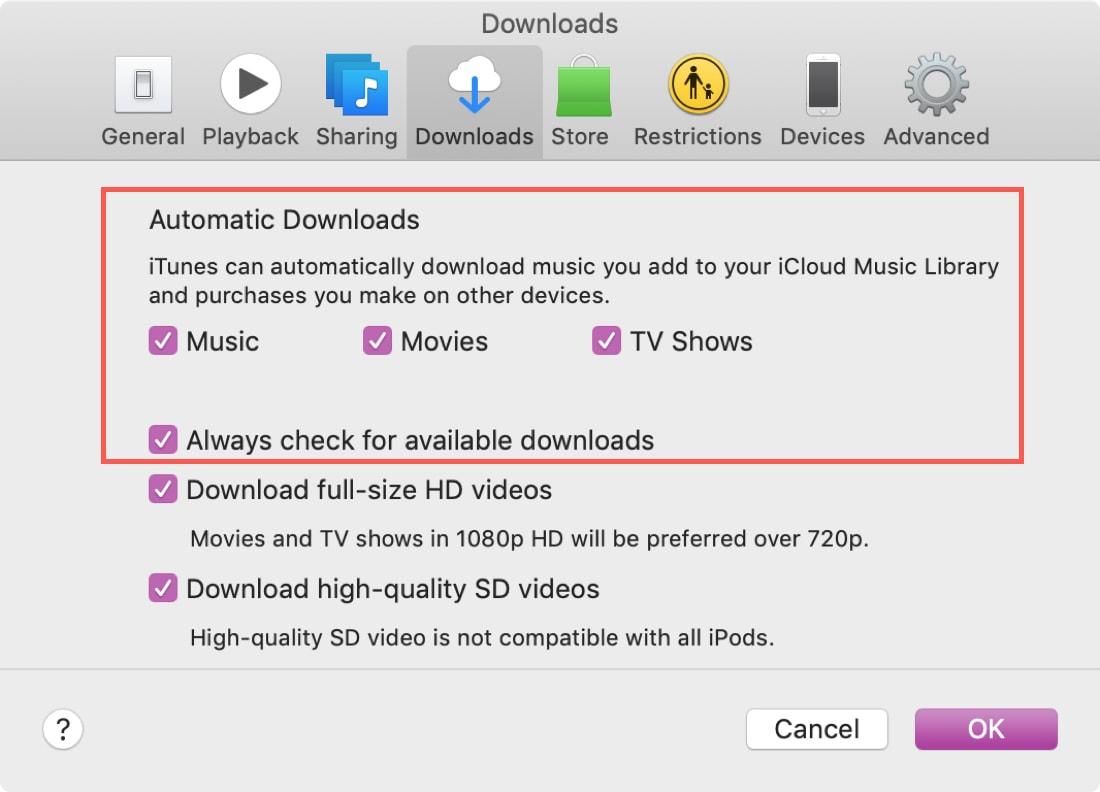 Descargas automáticas iTunes en Mac