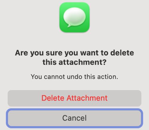 Confirm Delete Attachment in Mac Messages