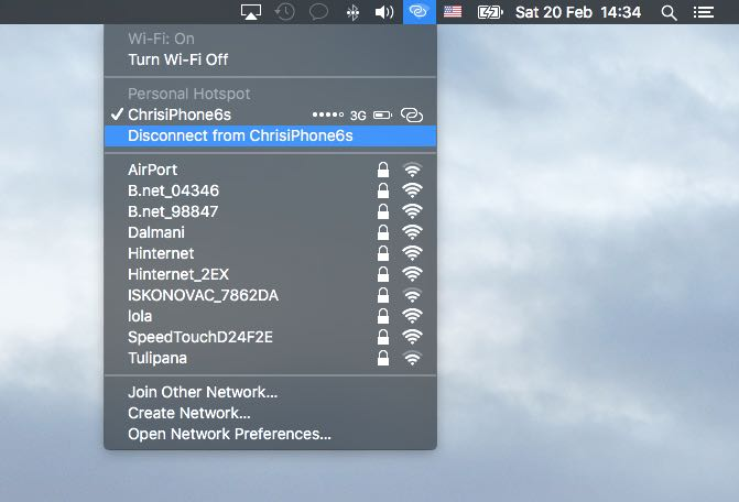 El Capitan Wi-Fi menu disconnect from Personal Hotspot Mac screenshot 001