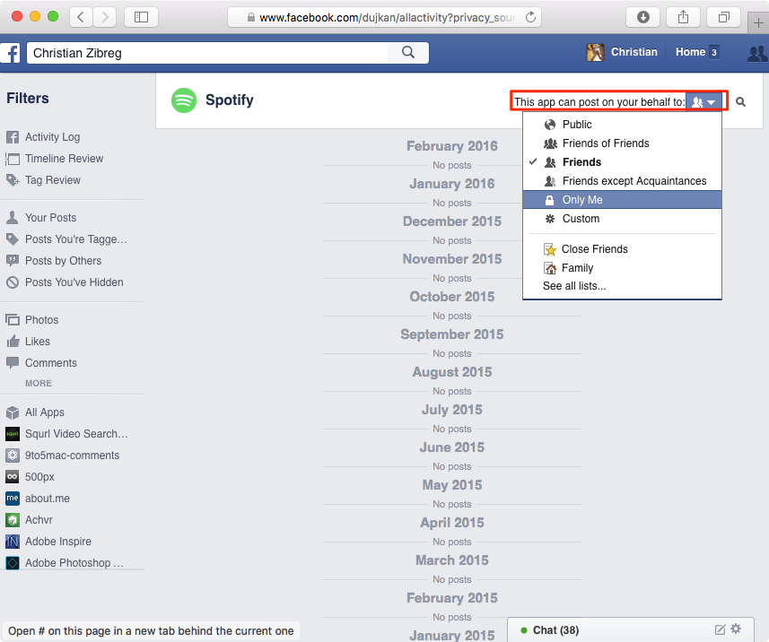 Prevent apps from spamming your timeline on Facebook