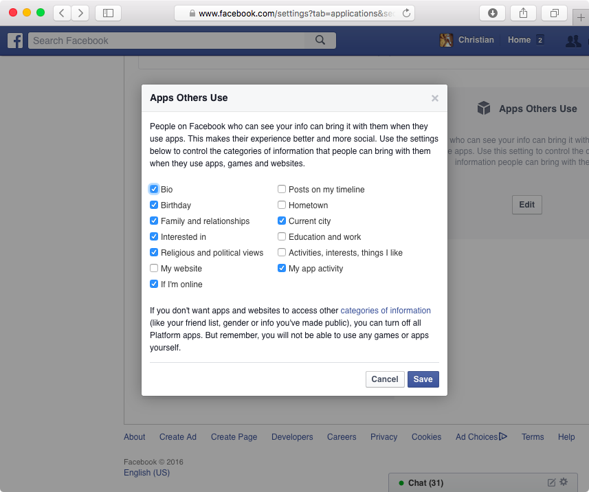 Control apps other people use on Facebook