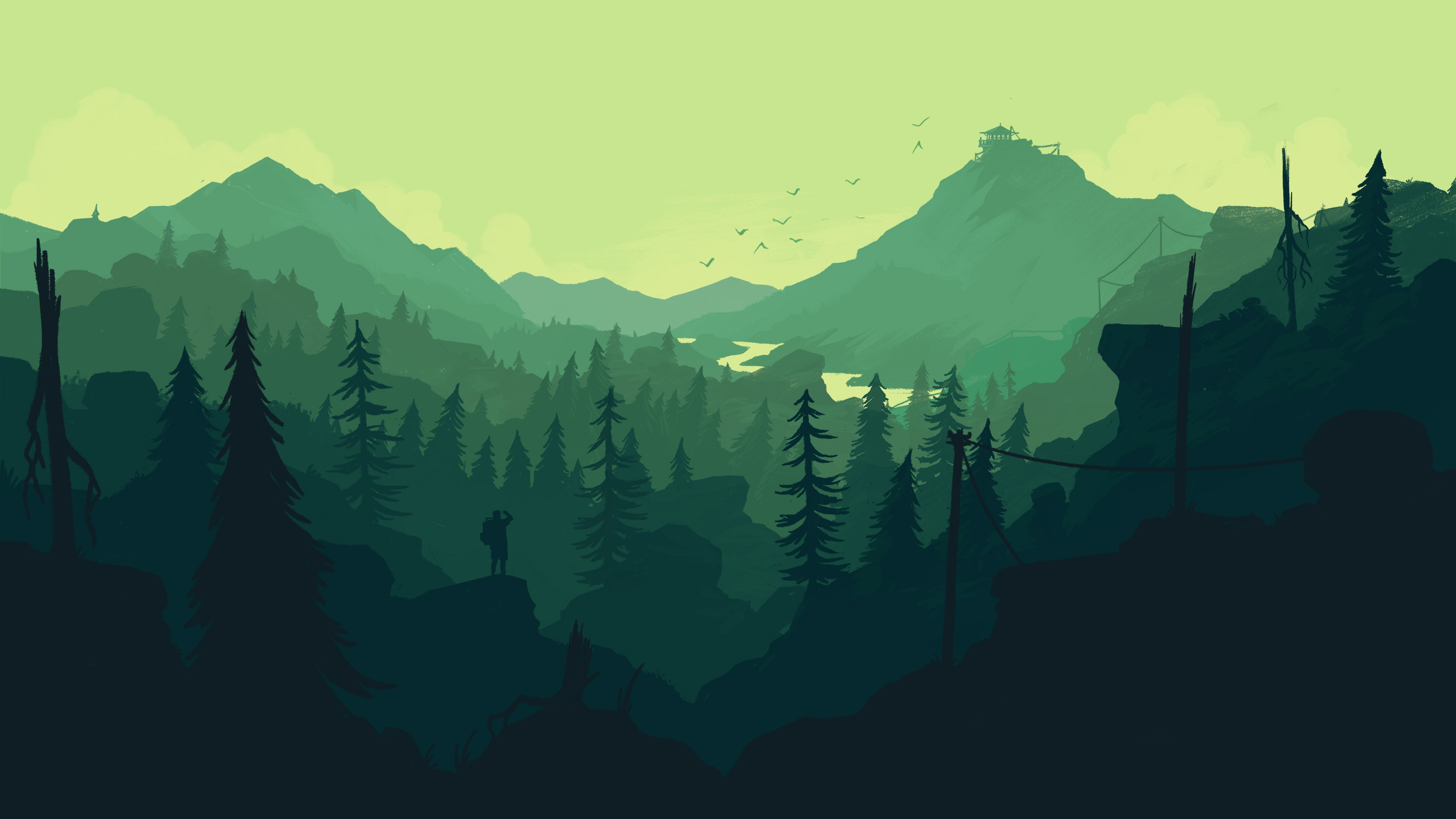 Firewatch Wallpaper desktop 2560x1440 green