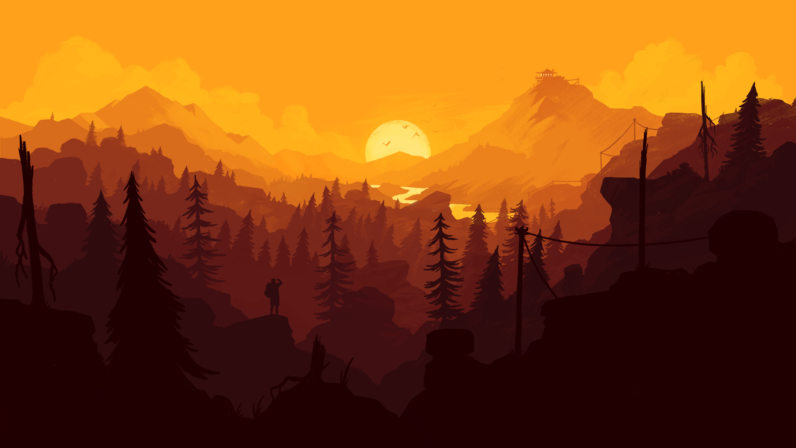 Firewatch Wallpaper desktop 2560x1440 orange