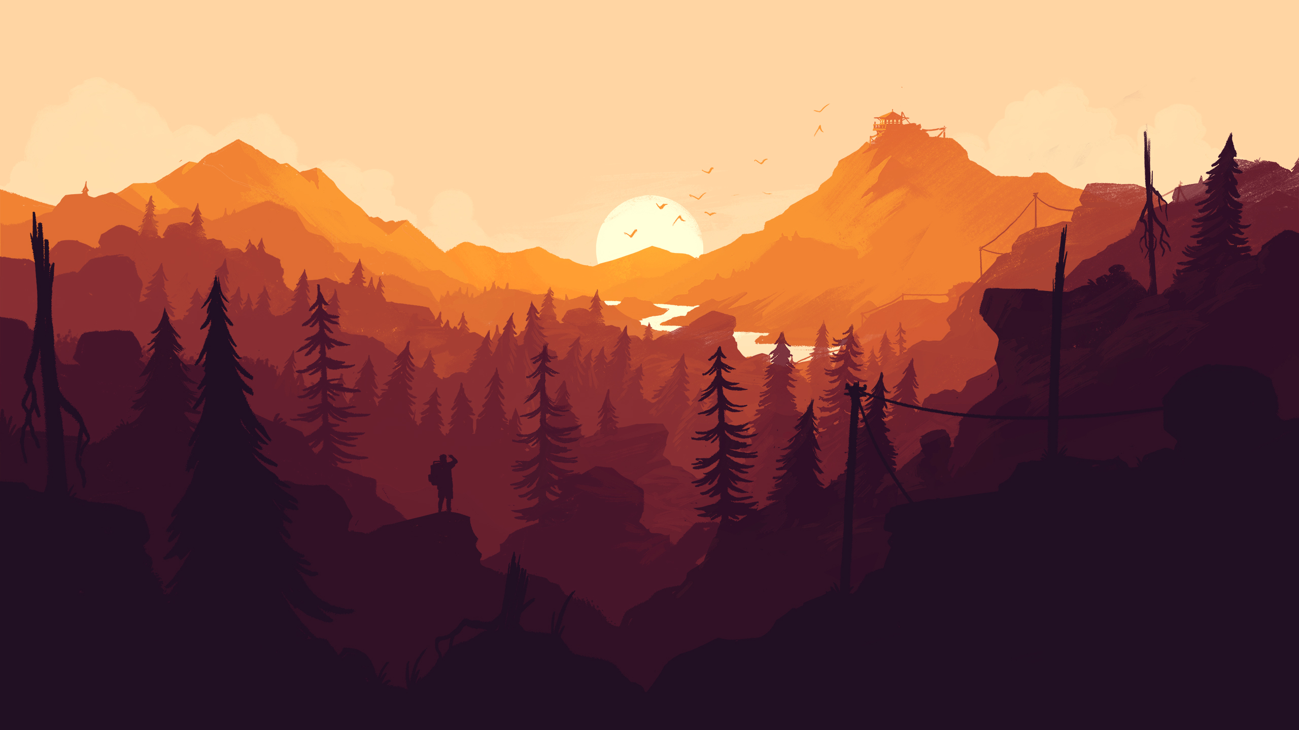 Firewatch Wallpaper desktop 2560x1440 yellow