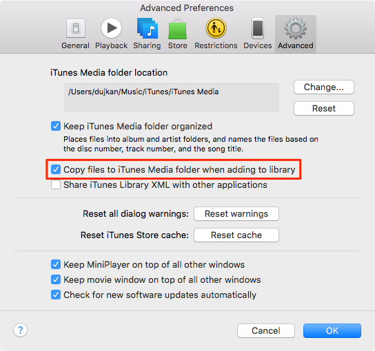 Copy files to iTunes Media folder when adding to library