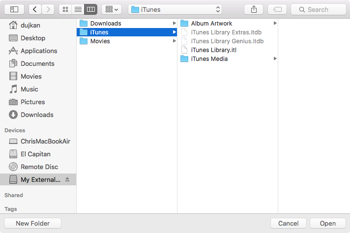 Locate iTunes folder on hard drive