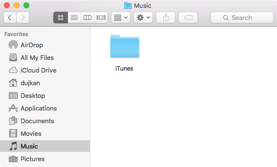 The iTunes folder on your Mac