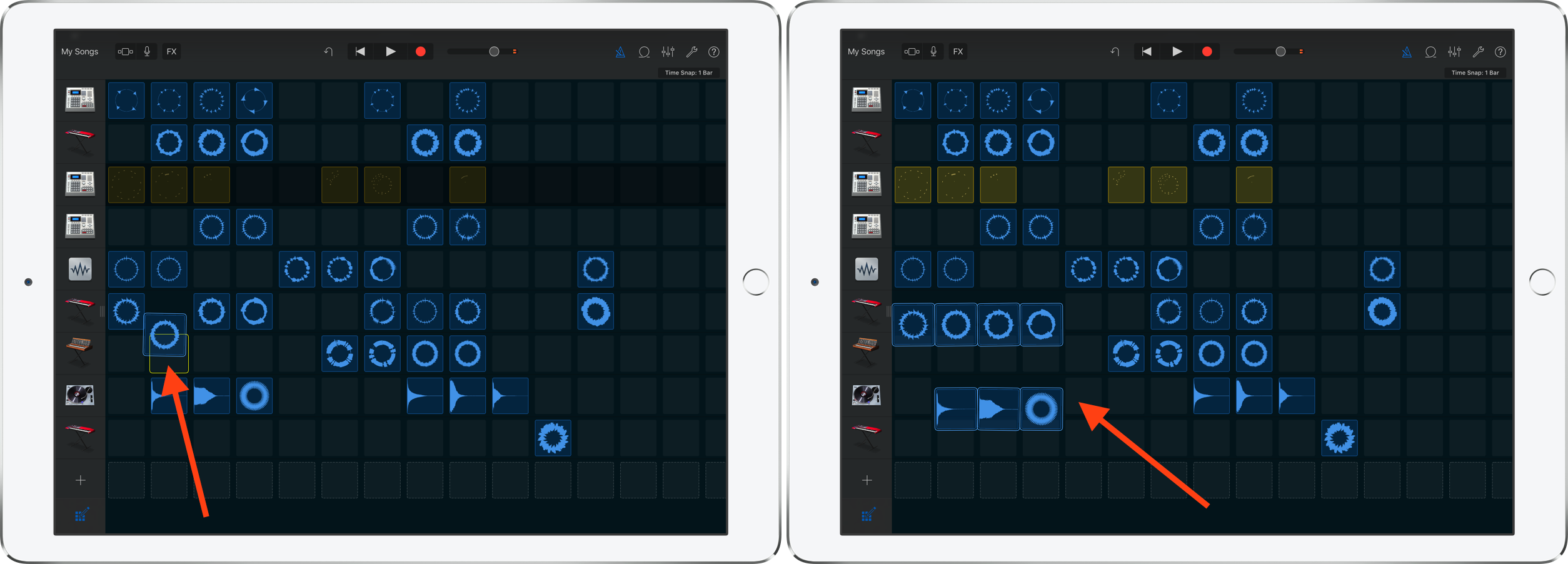 How to move loops GarageBand