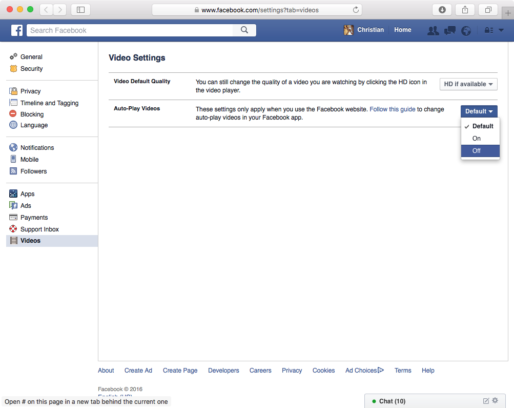 disable autoplay on Facebook website