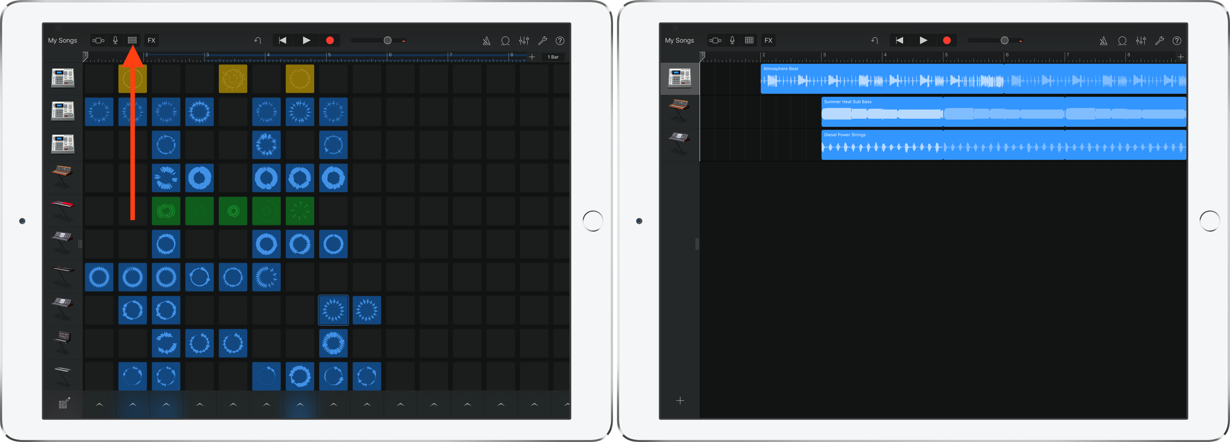 How to view the song waveform layout GarageBand