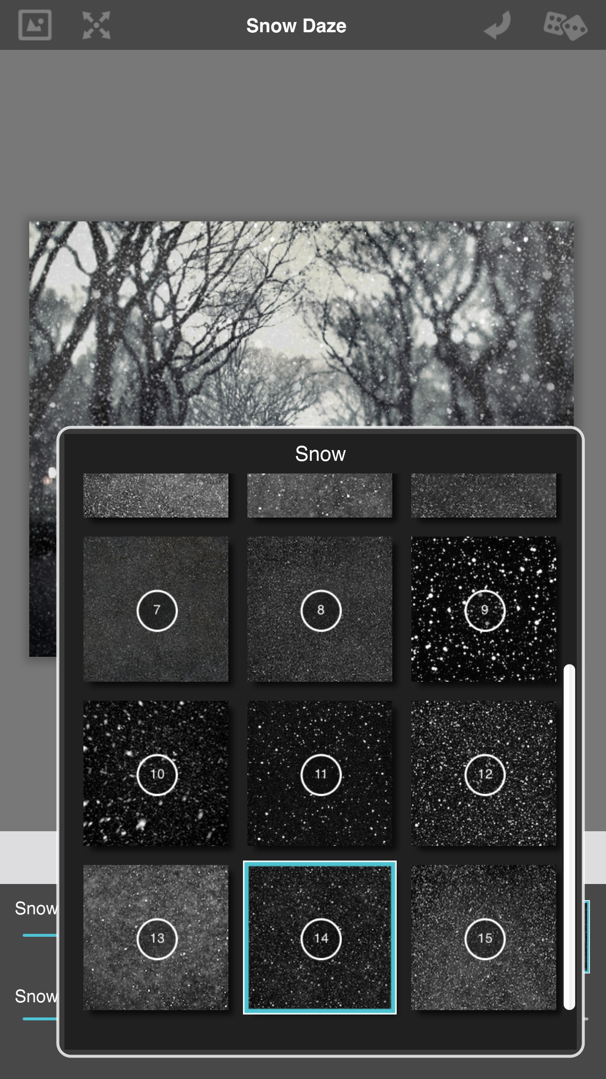 aturdimiento de nieve elegir patrón de nieve