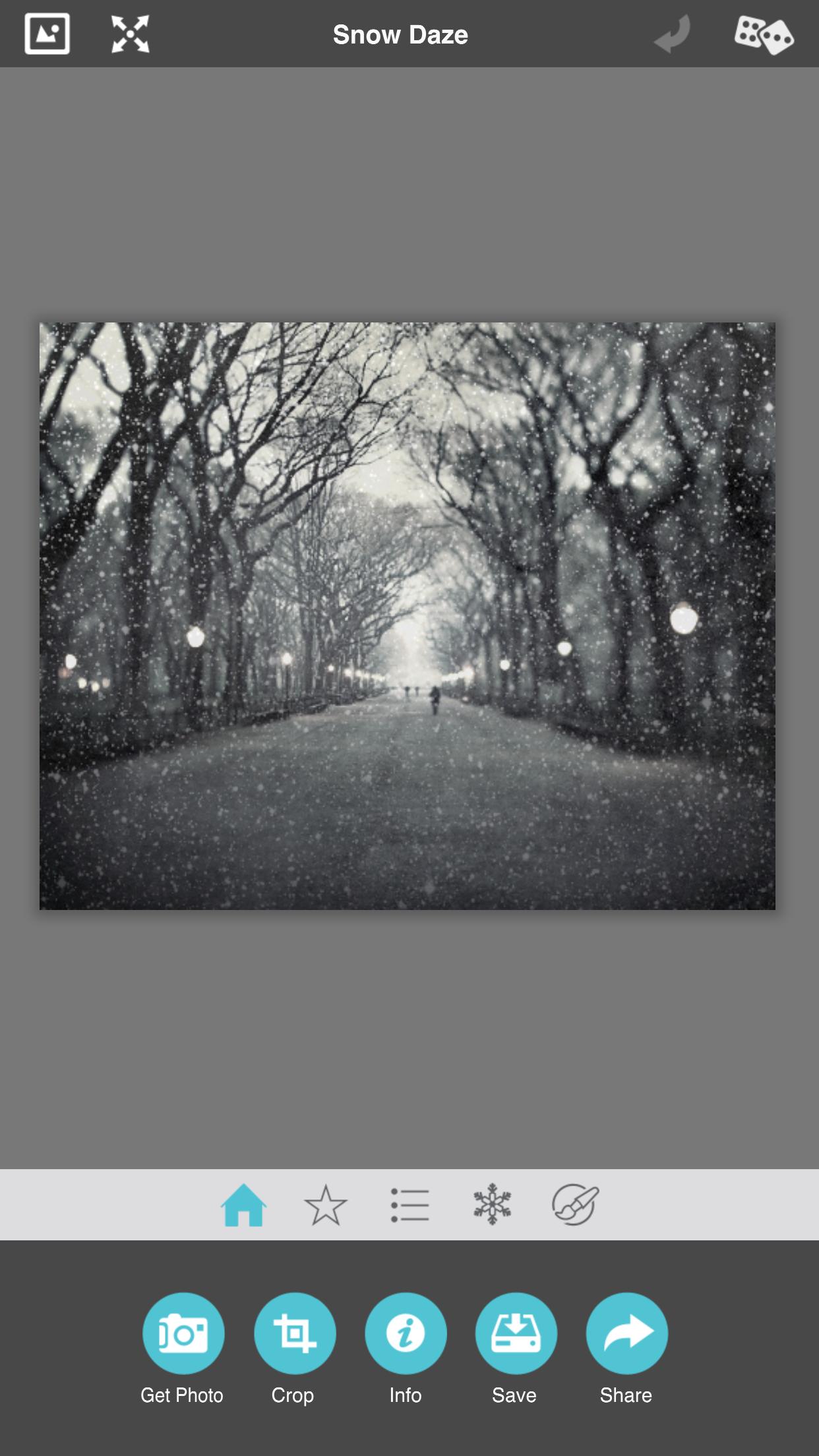 aturdir la nieve cargar fotografía y agregar efectos 1