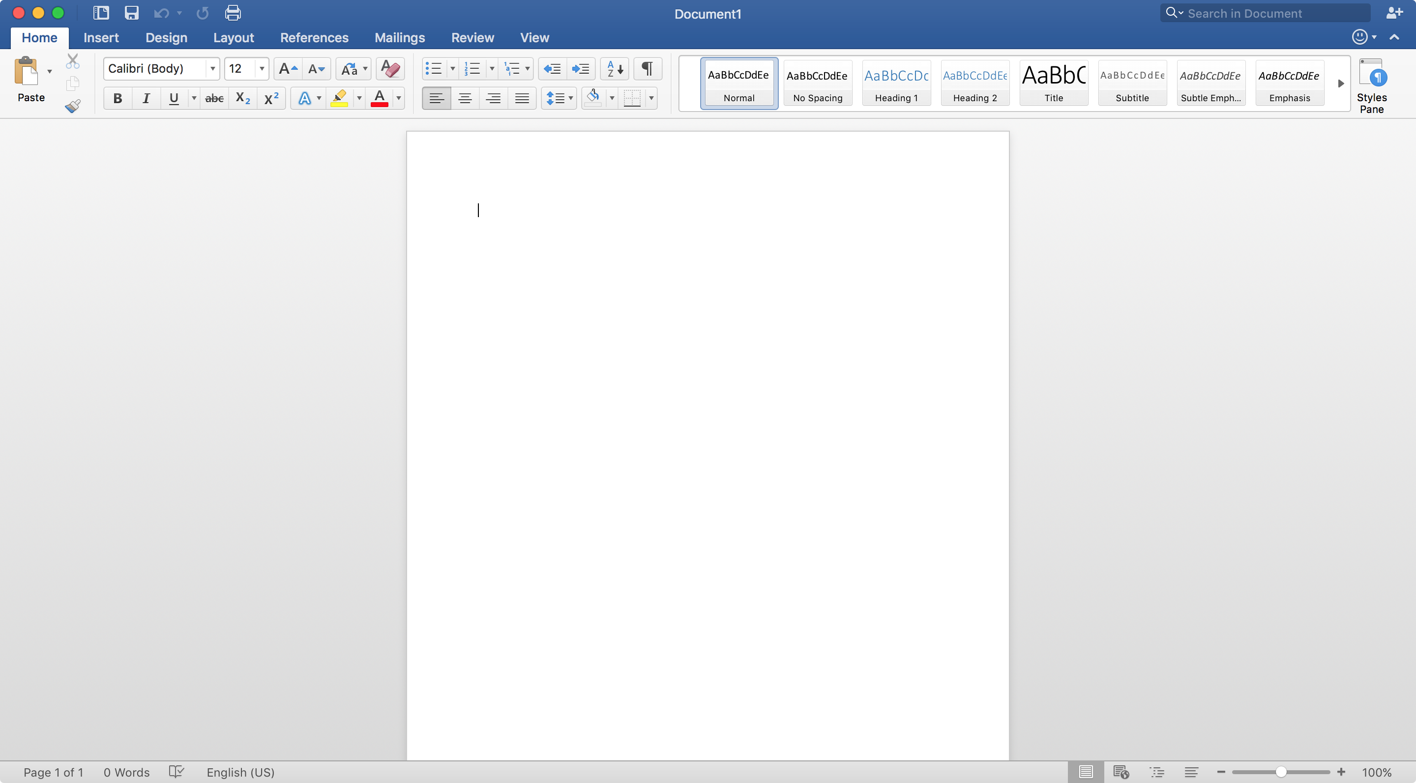 Microsoft Word User Interface