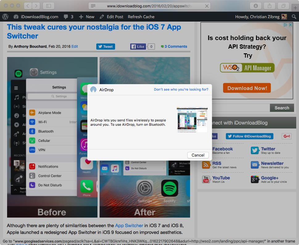OS X El Capitan AirDrop enable Bluetooth message Mac screenshot 001
