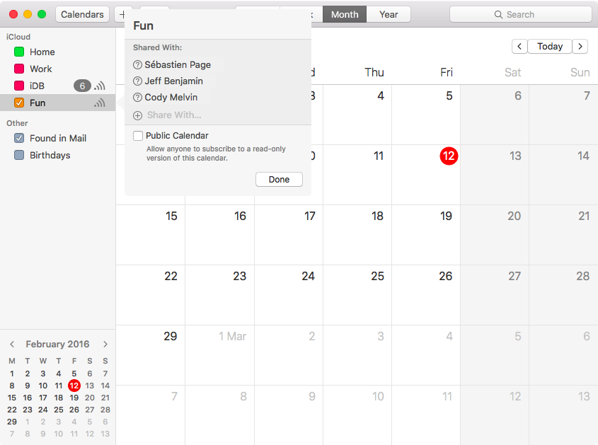 Select people to share iCloud calendars with on Mac
