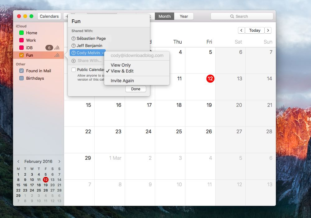 Cambiar privilegio de calendario en Mac
