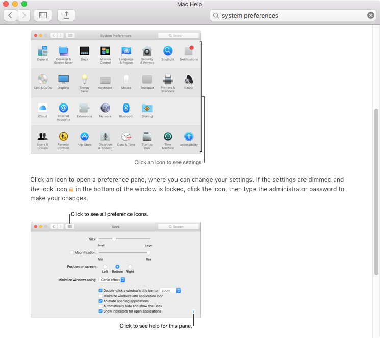 OS X El Capitan Help System Preferences Mac screenshot 001