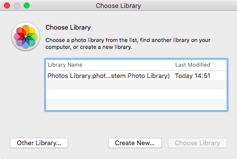 Choose new Photos library location