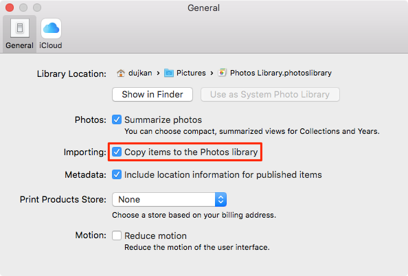 Copy items to the Photos library to move photos library to external hard drive