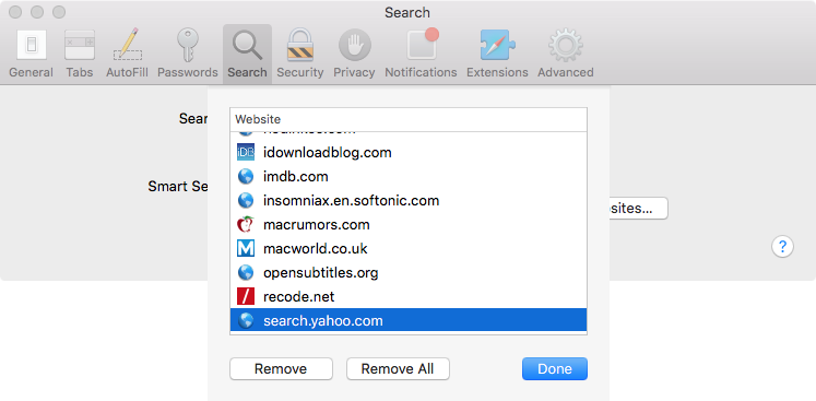 Remove safari Quick Website Search on Mac