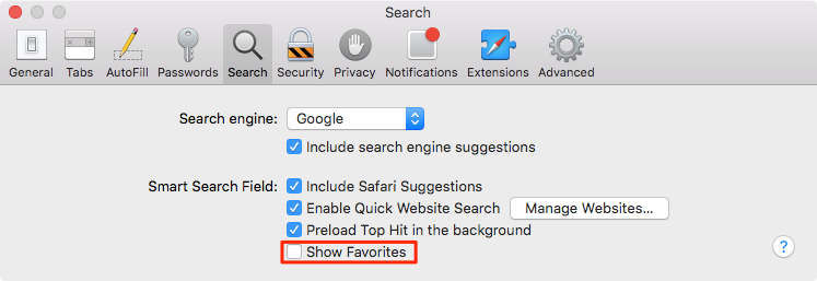 Show Favorites on Mac
