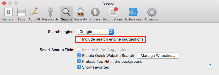 Disable search engine suggestions on Mac