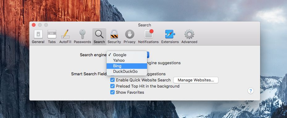 Change default search engine in safari on Mac