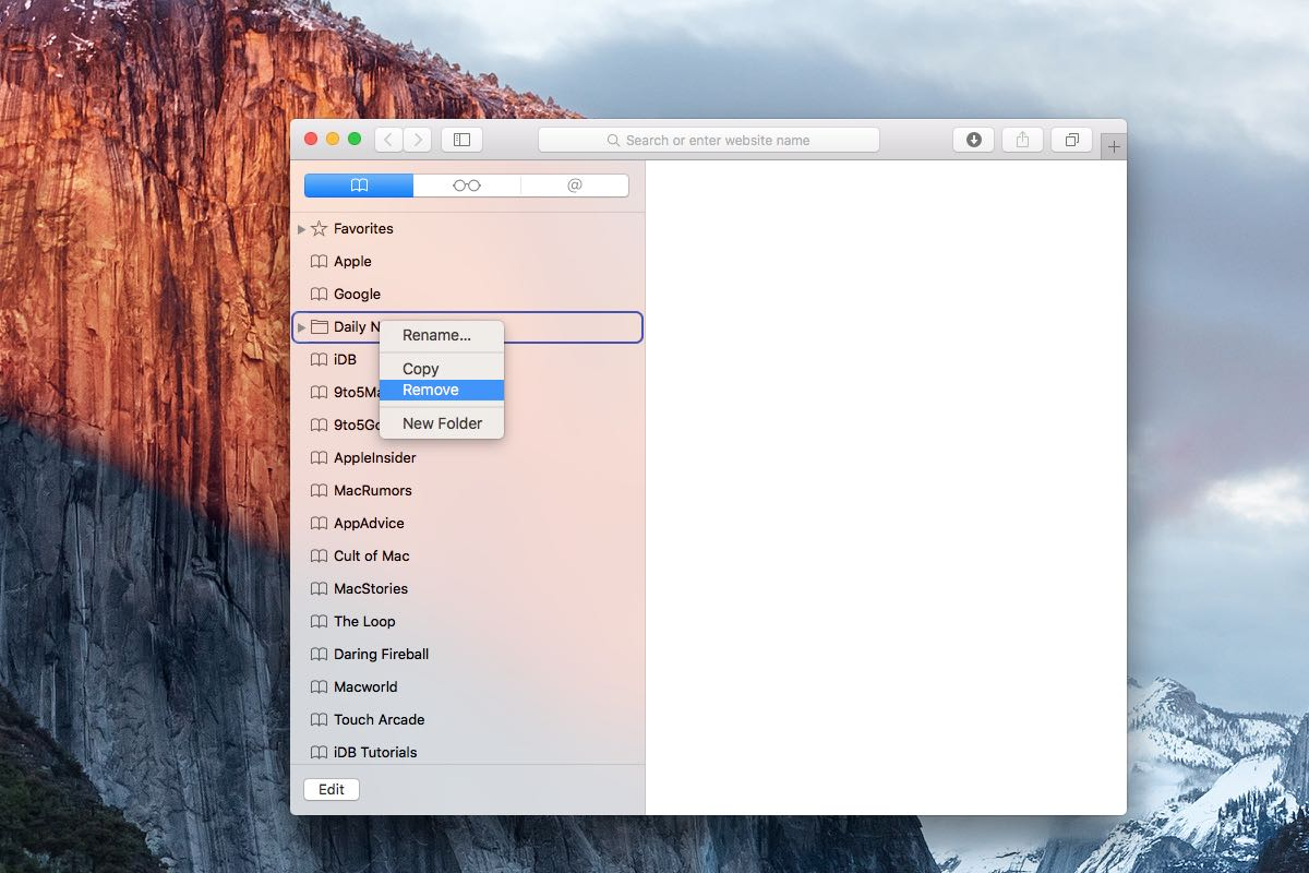 How to delete bookmark folders on Mac
