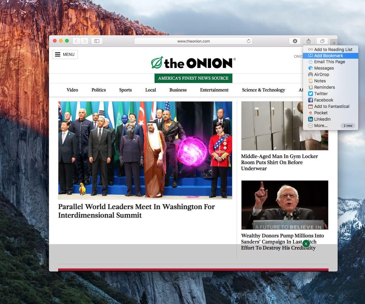 OS X El Capitan Safari cómo archivar marcadores en carpetas Mac captura de pantalla 006