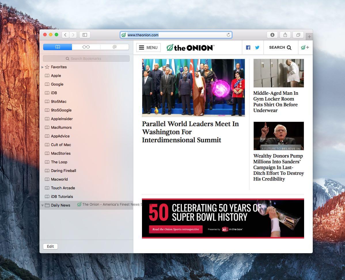 OS X El Capitan Safari cómo archivar marcadores en carpetas Captura de pantalla de Mac 009