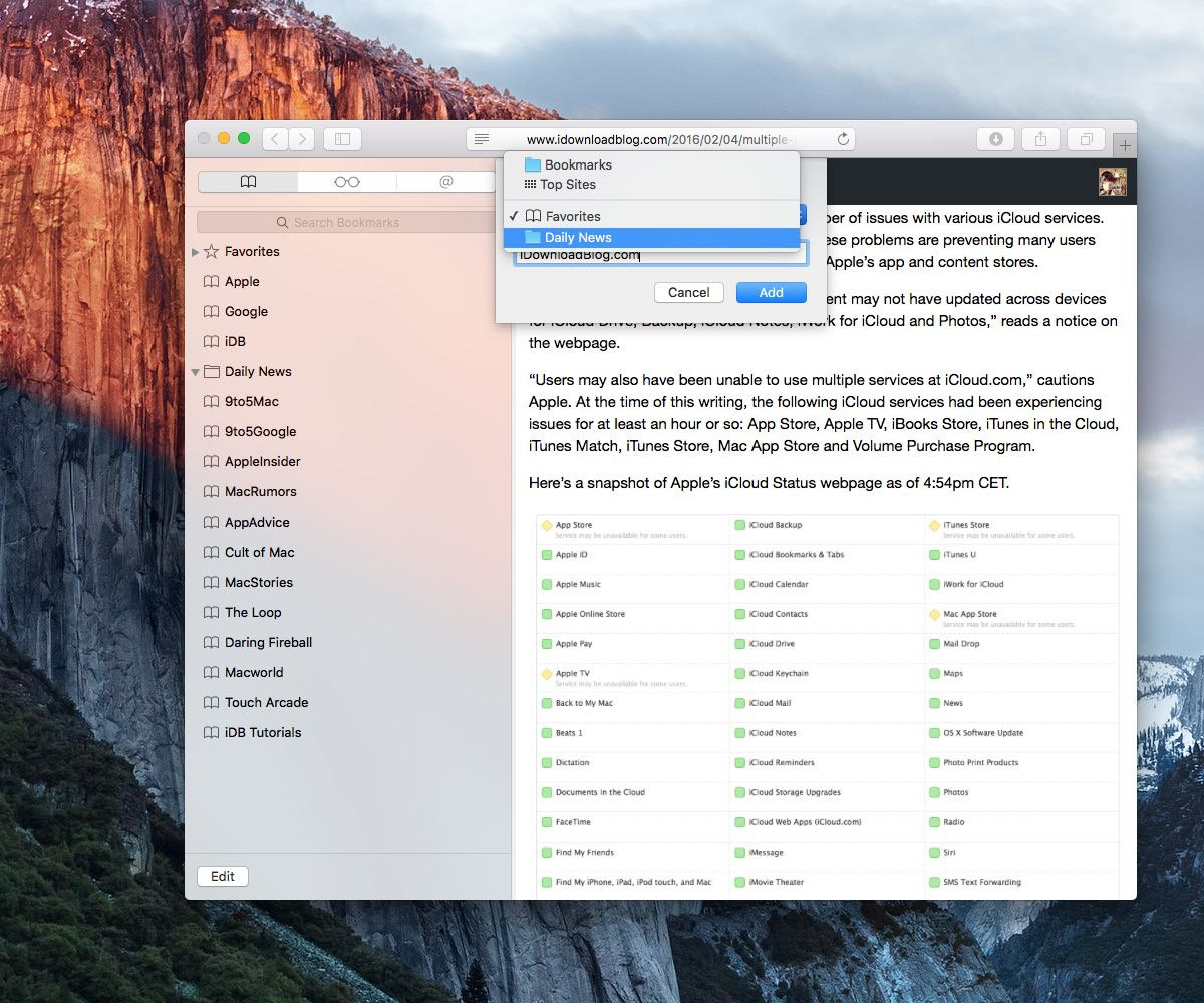 OS X El Capitan Safari how to file bookmarks into folders Mac screenshot 011