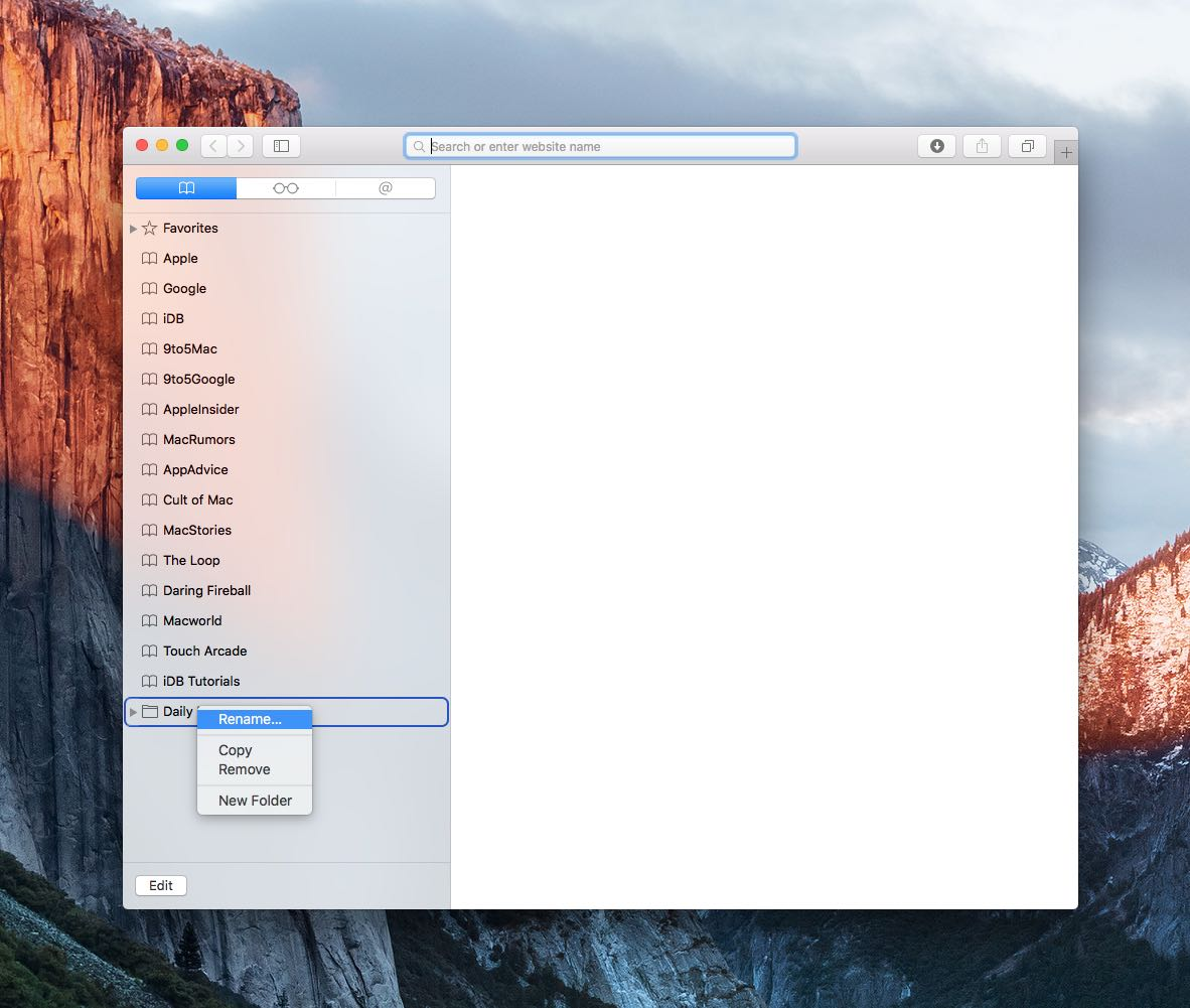 OS X El Capitan Safari how to rename bookmark folders Mac screenshot 010