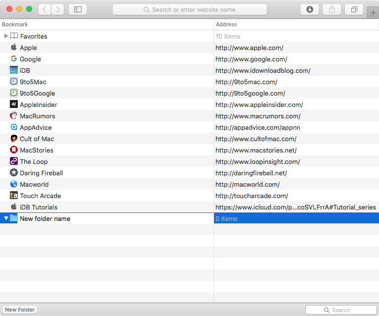 Rename Safari bookmark folder on Mac