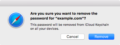 Confirm you want to delete password