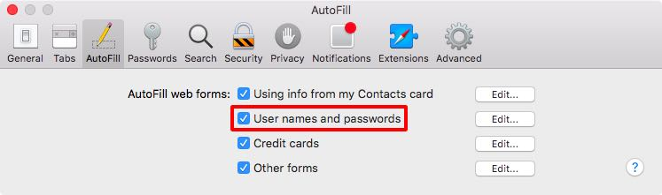 Autofill usernames and passwords in Safari for Mac