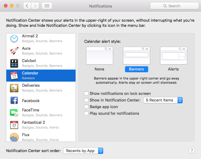 Adjust notification for subscribed calendar on Mac