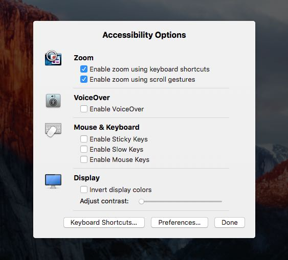 OS X Yosemite Accessibility Display options overlay Mac screenshot 002