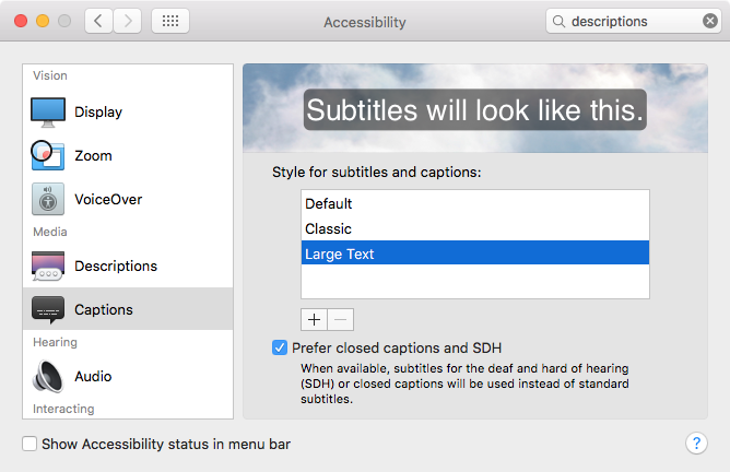 OS X Yosemite SysteM preferences Accessibility Captions Mac screenshot 001