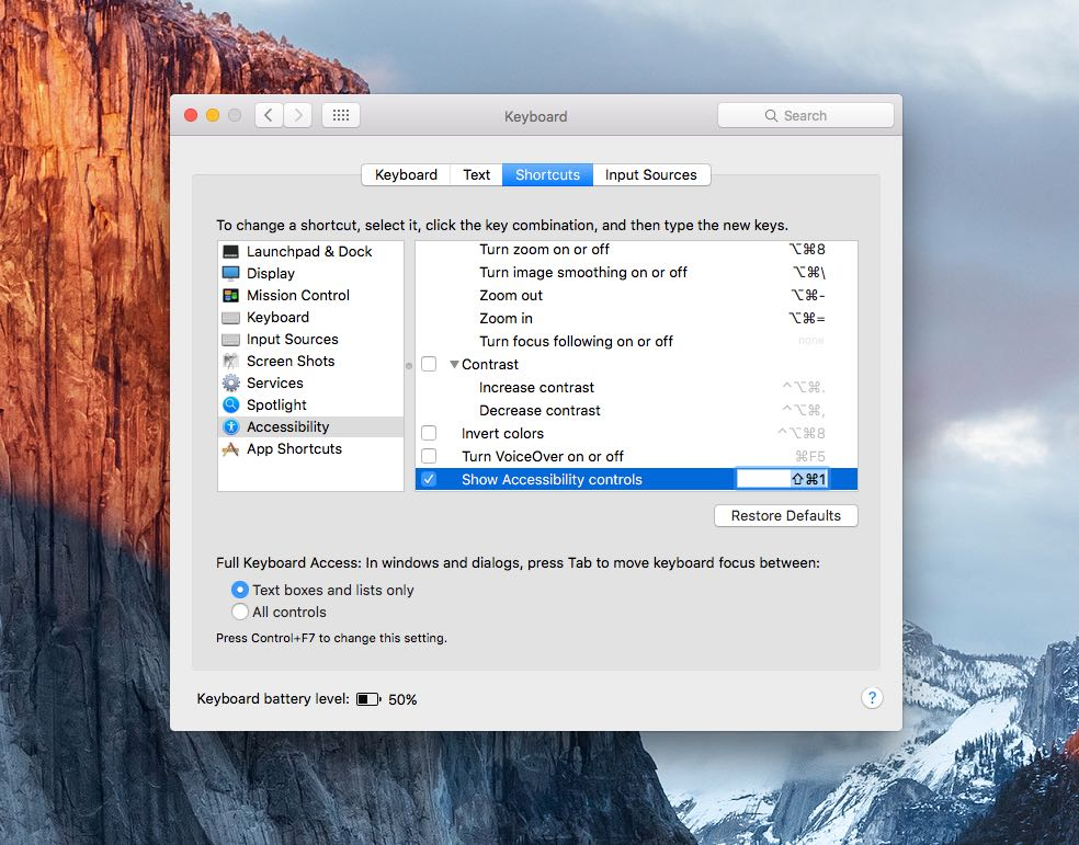 OS X Yosemite SysteM preferences Accessibility Keyboard Shortcuts Mac screenshot 002