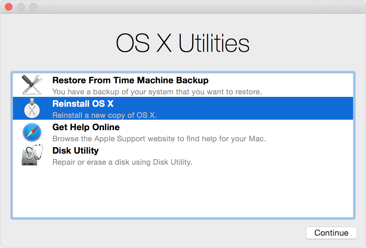 Recovery Mode OS X Utilities window Mac screenshot 001