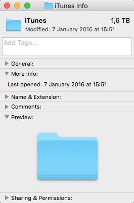 Tamaño de la biblioteca de iTunes en el disco duro