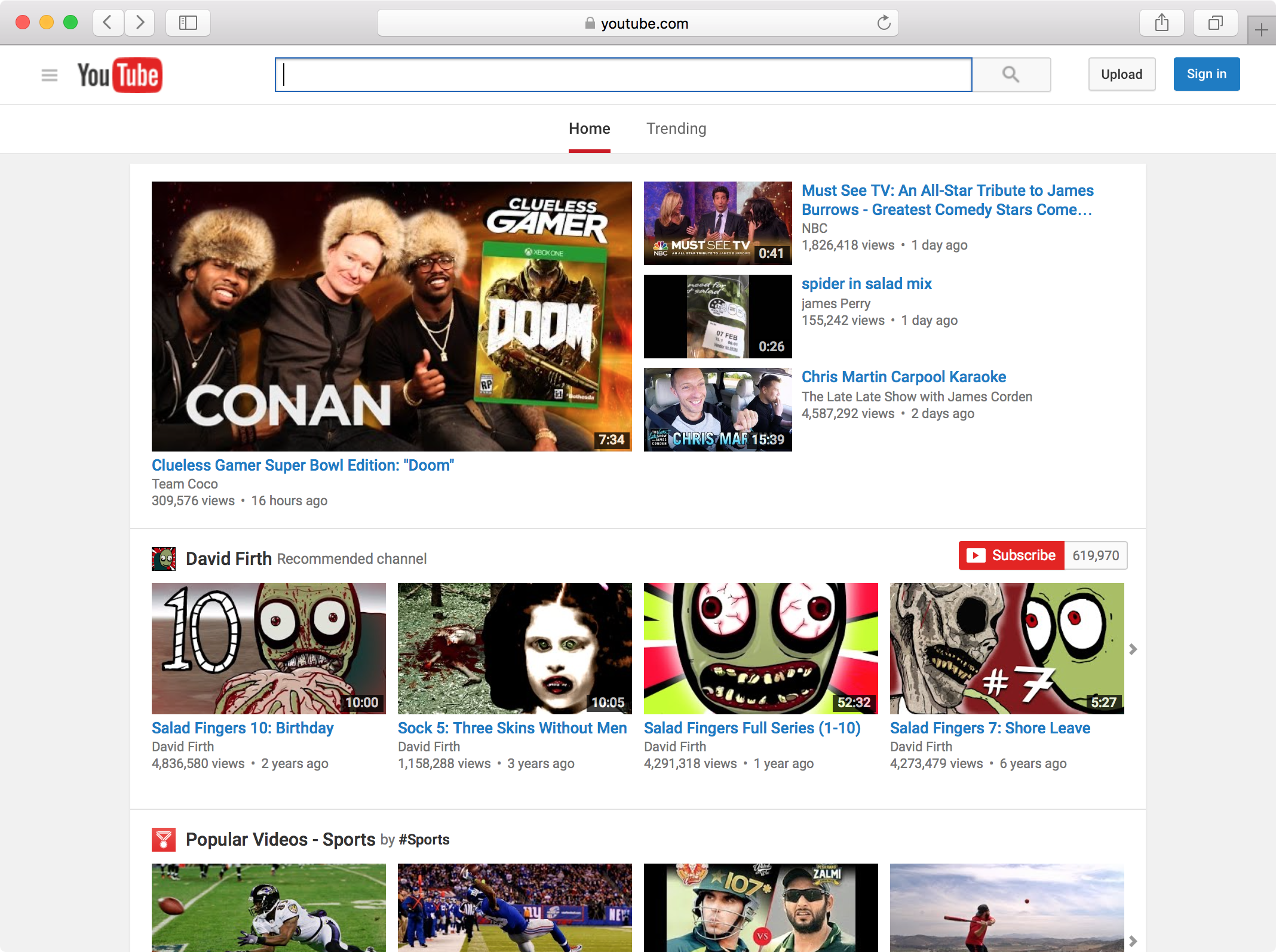 YouTube on desktop