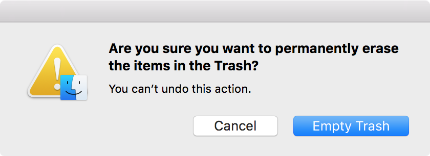 OS X empty the trash